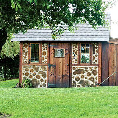 Cottage Gewächshaus Holz Stein Ziegel