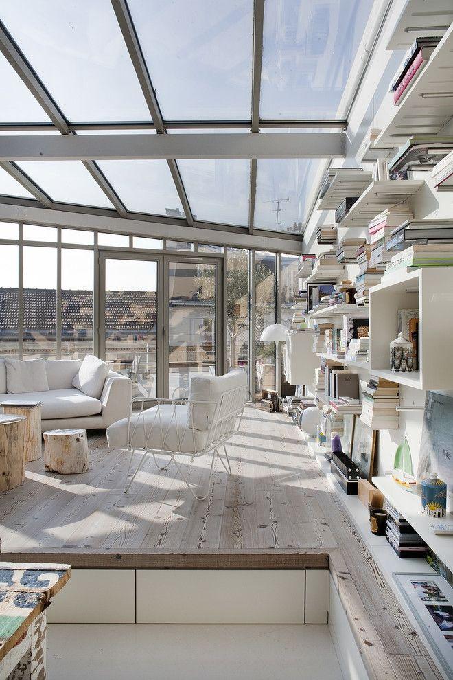 Dach Wohnzimmer Podest offen Hausbibliothek