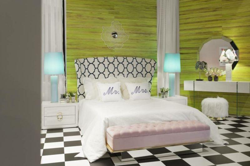 Ein bunter Stil Mix aus Formen und Farben fürs Schlafzimmer