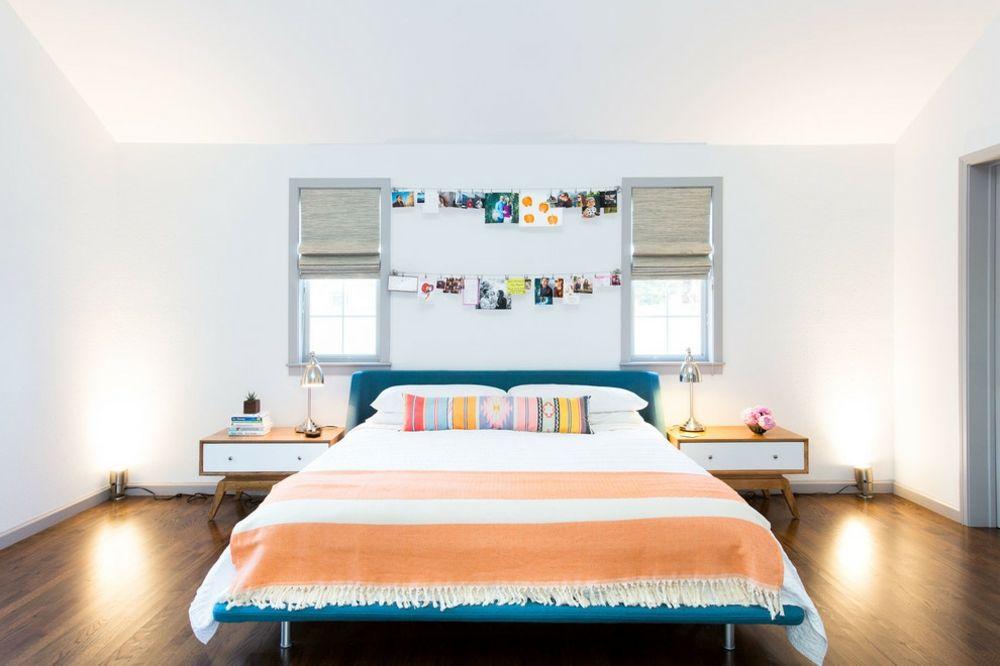 Farben Schlafzimmer kräftig orange blau dunkelbraun