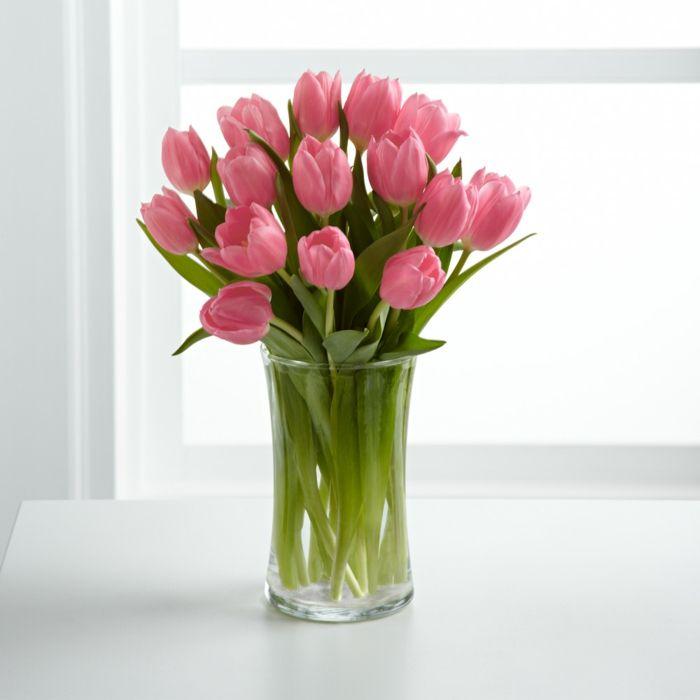 Frühlingsblumen Tulpen Rosa Strauß Vase