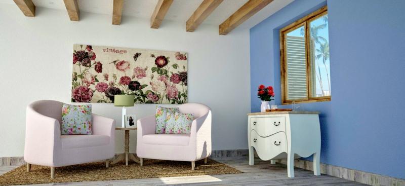 Frühlingsmotiven in hellen Nuancen wie Rosé, Beige und Hellblau für das Wohnzimmer