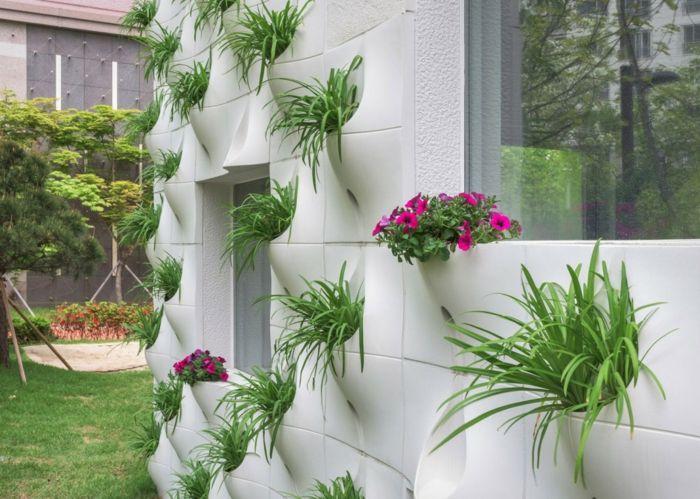 Grüne Wand eingebaut Pflanzgefäß Glasfiber Eisenbeton