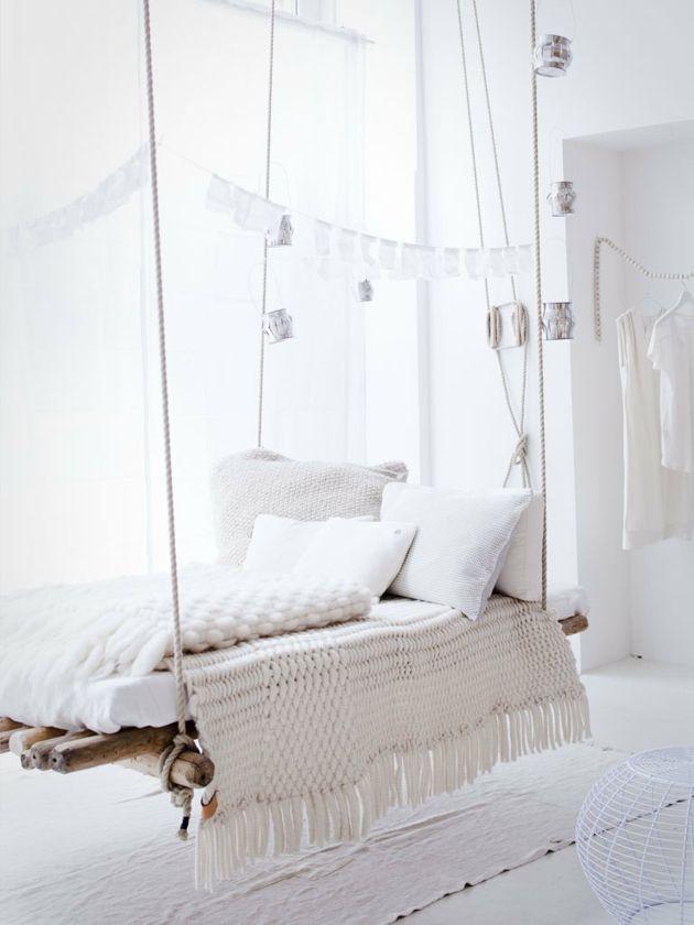 Hängebett weiß Schlafzimmer romantisch Shabby Chic