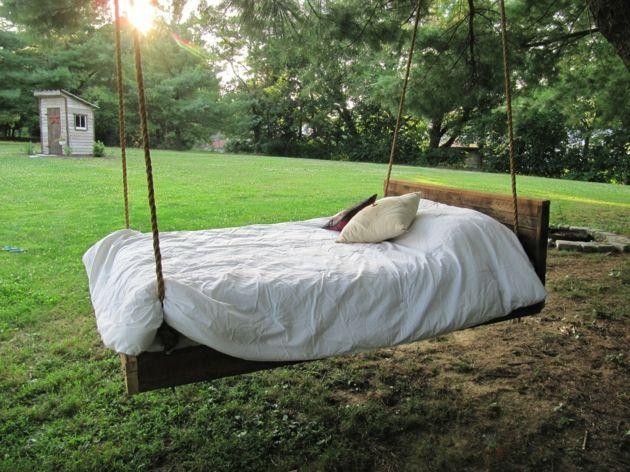 Hängendes Bett Holz Außenbereich Garten