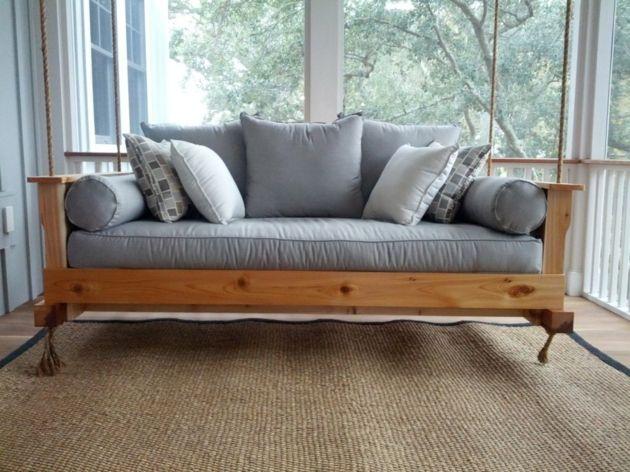 Hollywood Schaukel Hängebank Design Holz Veranda graublau Textilien
