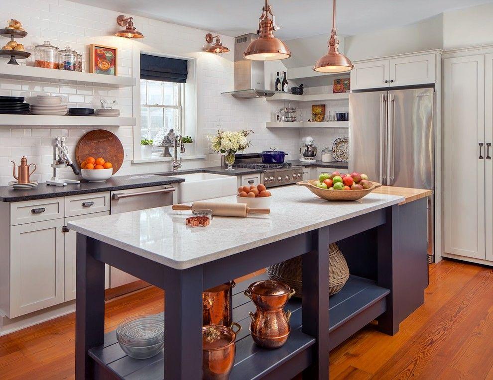 Küche Kupfer Akzente Kochinsel Pendelleuchten