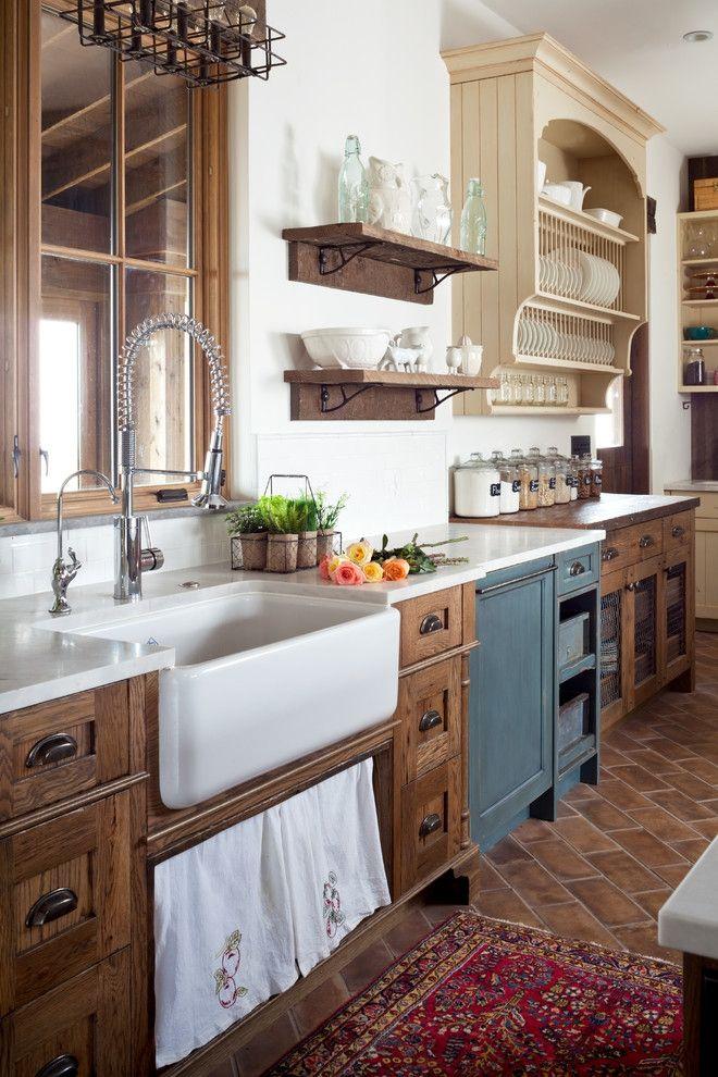 Küchendesign Landhausstil Holzfronten Aufsatzspüle