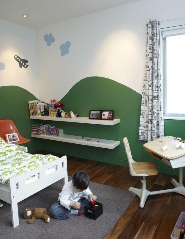Kinderzimmer modern Wandbretter weiß Wohnidee