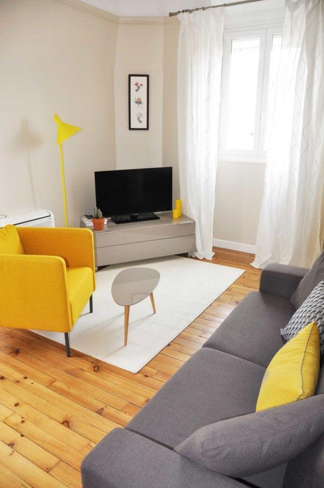 wohnzimmer gelb grau dekoration inspiration innenraum