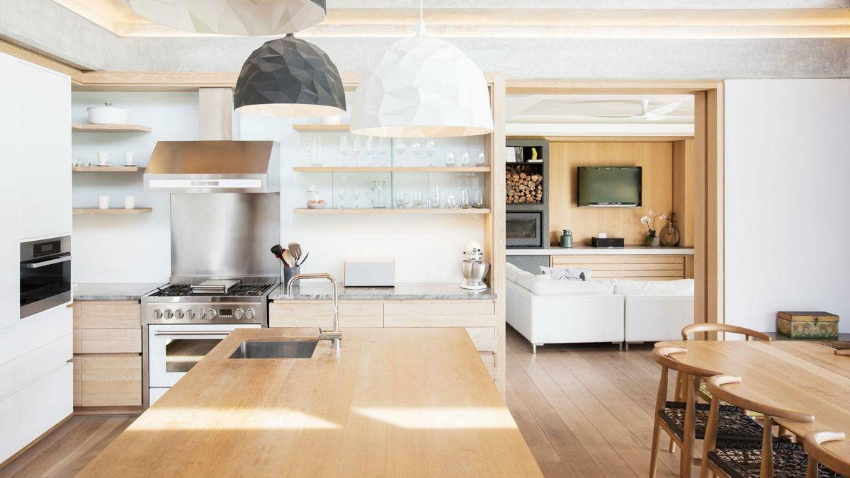 Kochinsel Holz Oberfläche einheitlich Look