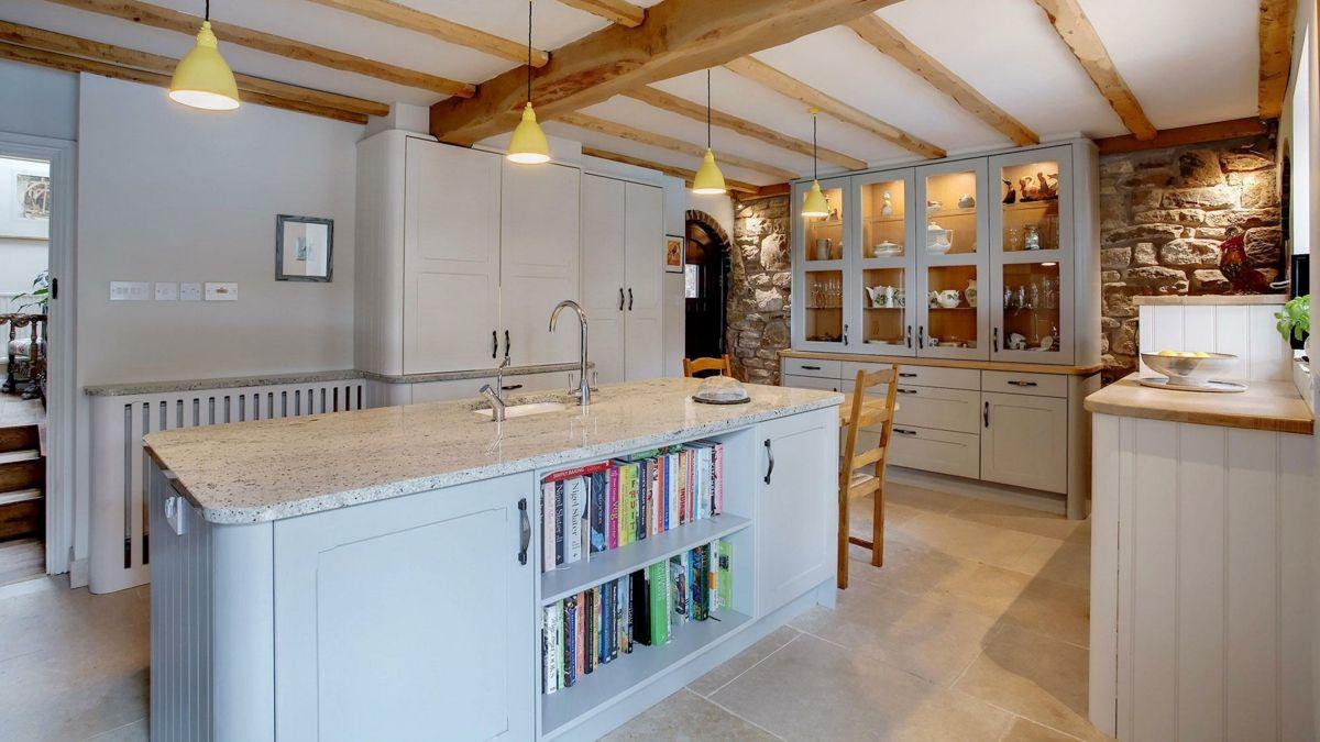 Kochinsel Landhausstil Küchenschrank Holz weiß
