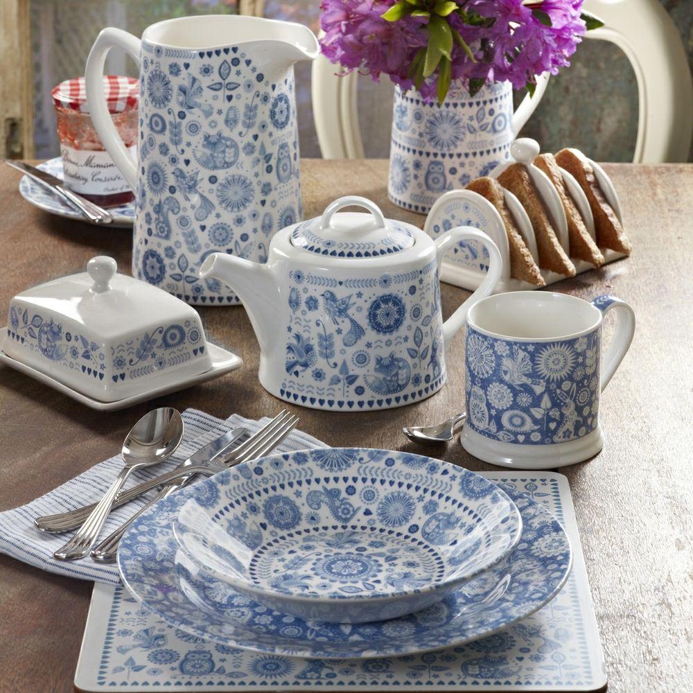 Komplettset Porzellan Geschirr Muster weiß königliches blau