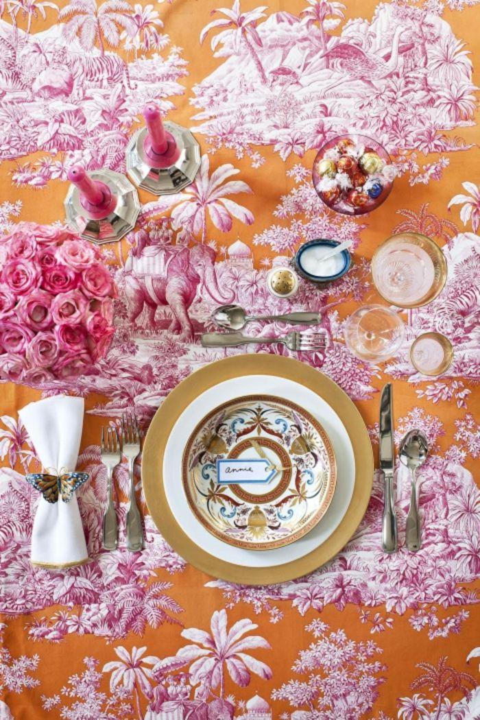 Luxus Tischdecke Ostertisch Magenta Orange exquisit