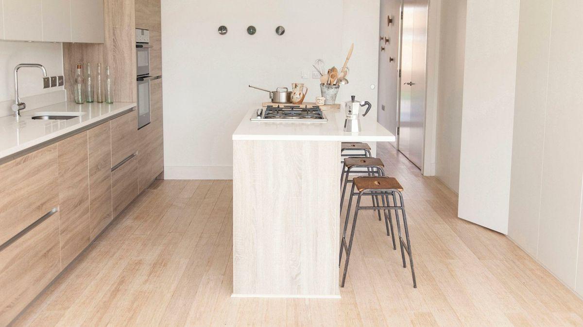 Möbel Küche Kochinsel Barhocker Holzoptik