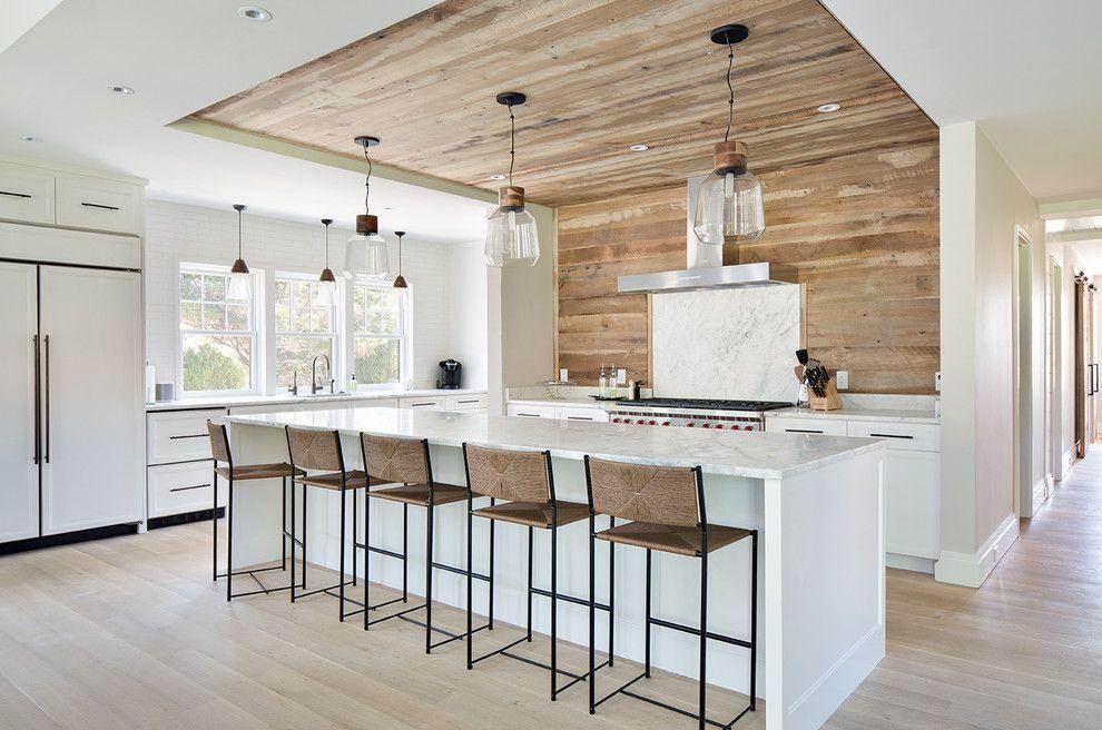 Minimalistisch Küchengestaltung Weiß Holzfarben