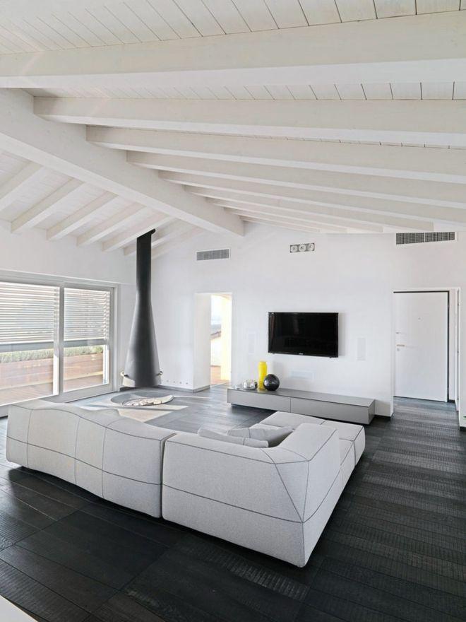 Minimalistisch Wohnzimmer Weiß modulares Sofa