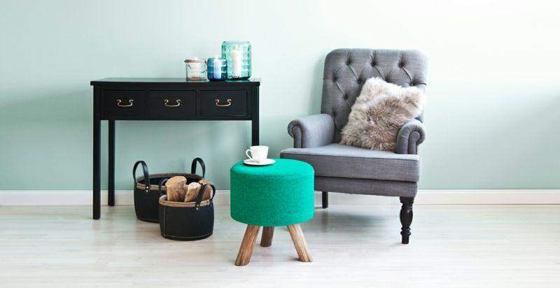 Modern Wohnzimmer Polsterhocker Grün auf Holzgestell