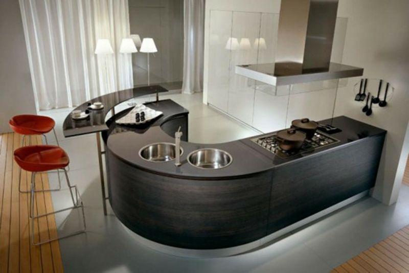 Moderne Küche mit rundem Doppelspülbecken