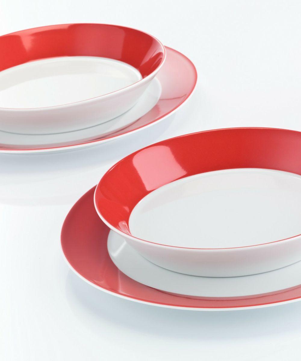 Porzellan Alltagsgeschirr Set weiß rot