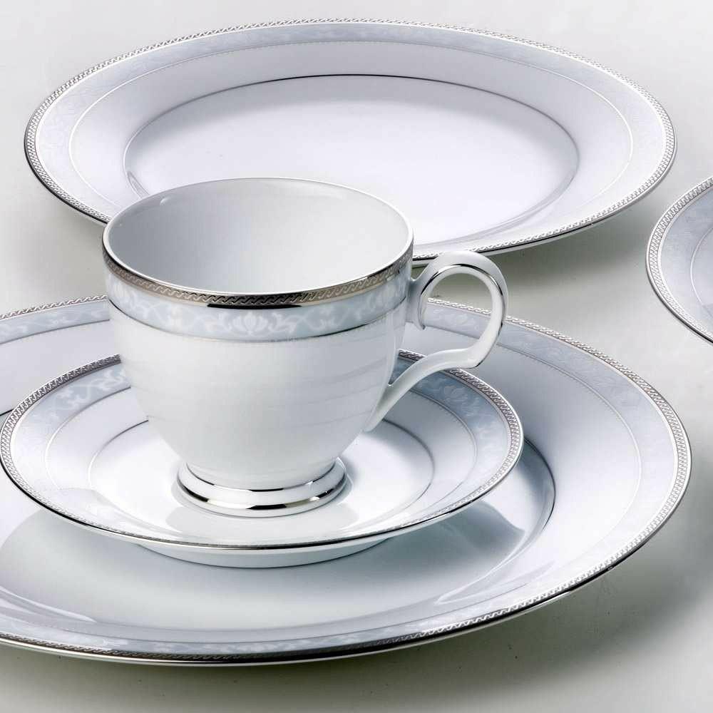 Porzellan Set versilbert Handarbeit Tasse Teller