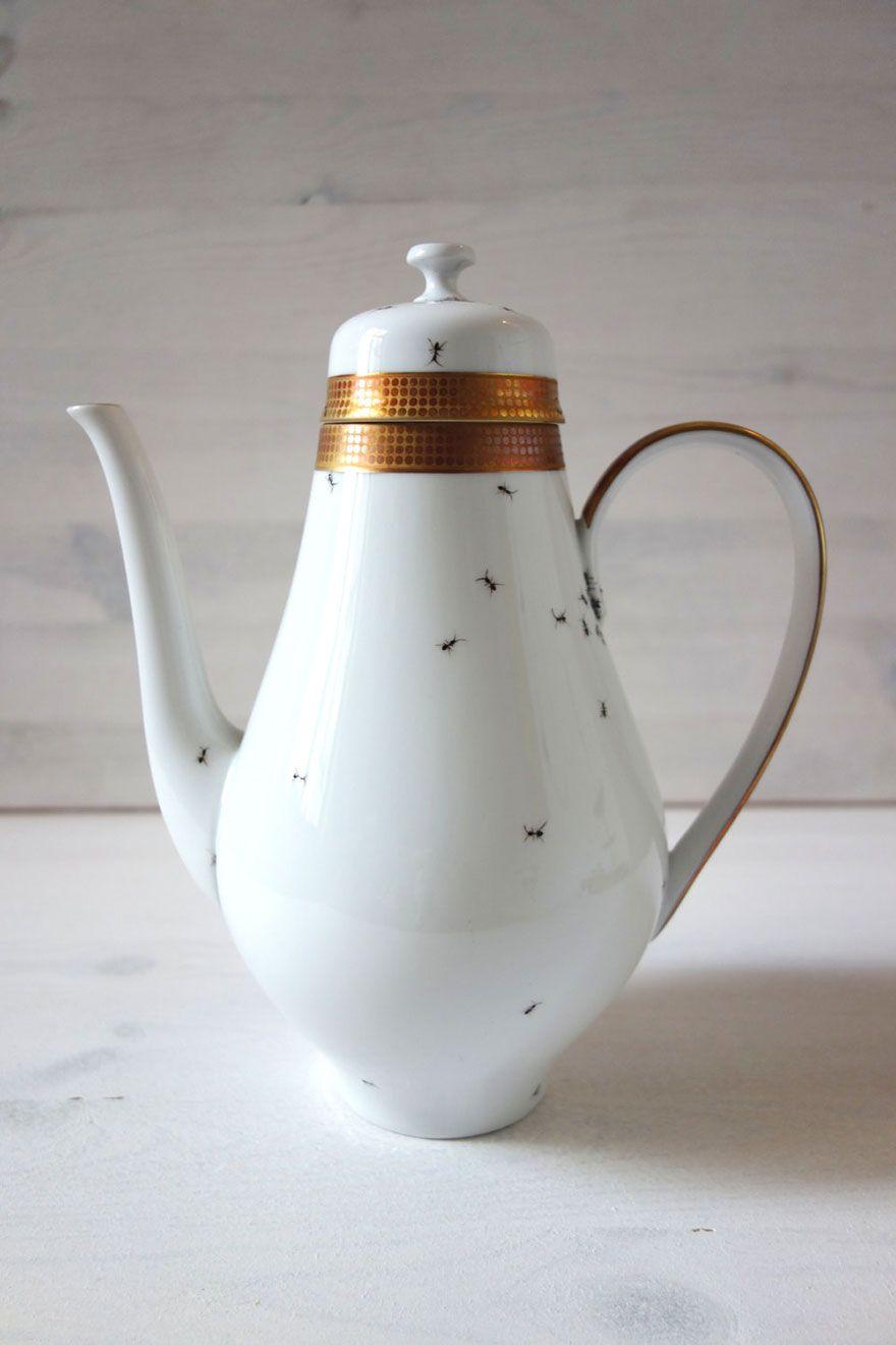Porzellan Vintage Behälter handbemalt Ameisen