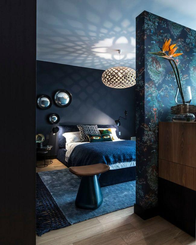 Schlafzimmer Einrichtung dunkel schwarz