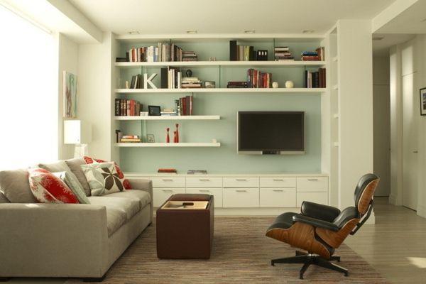 Schwebende Regale maßangefertigt Wohnzimmer TV Mobiliar weiß