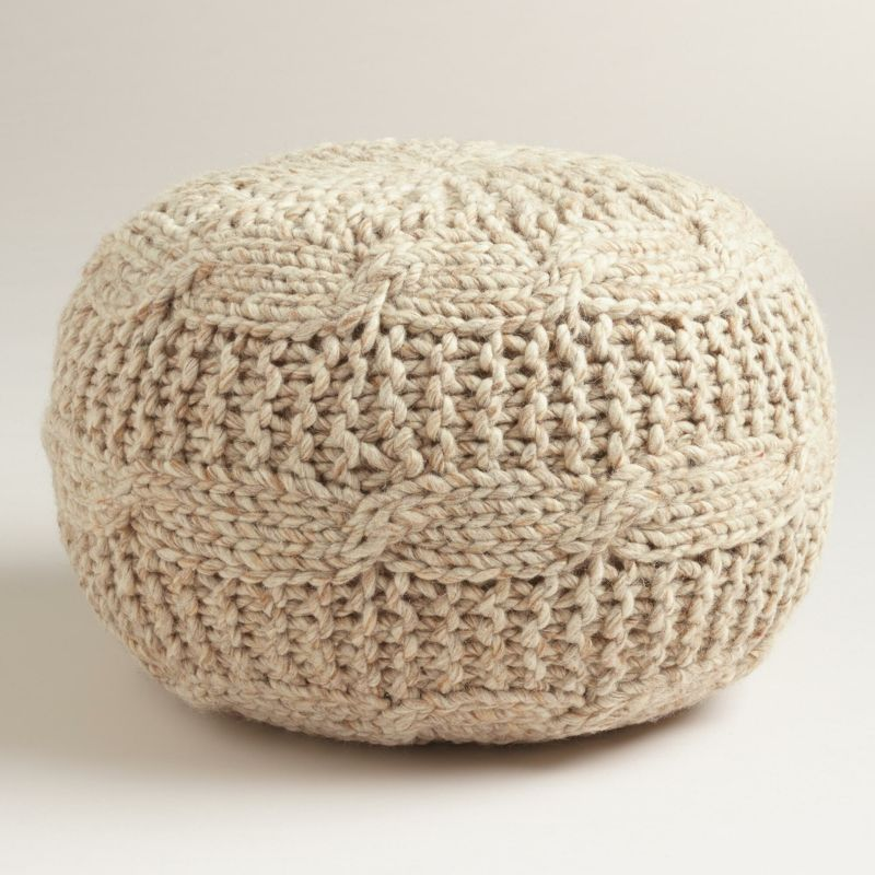 Sitzmöbel Pouf Strickoptik Pullover Beige