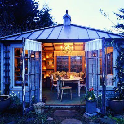Sommerhütte Pultdach Rückzugsort Wohnzimmer Garten