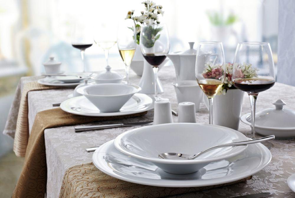 Tafelservice attraktiv Porzellan Geschirr weiß