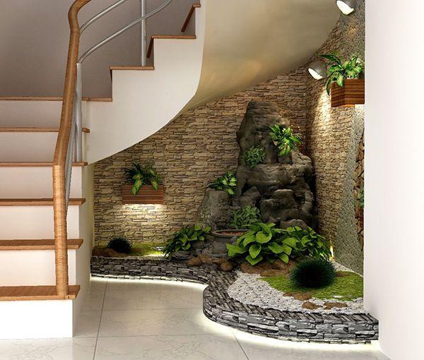 Treppenhaus gestalten Ziegelwand künstliche Beleuchtung