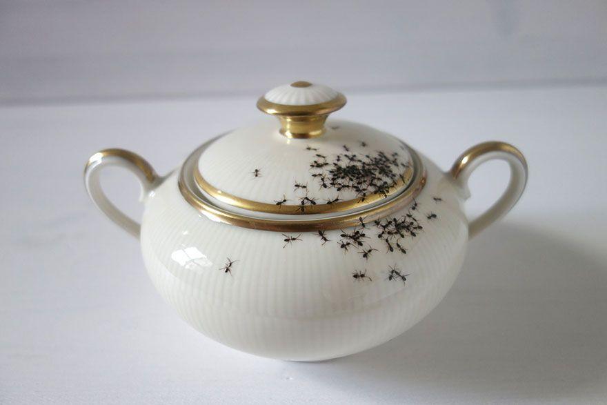 Vintage Porzellan Zuckerdose Ameisen Kunst