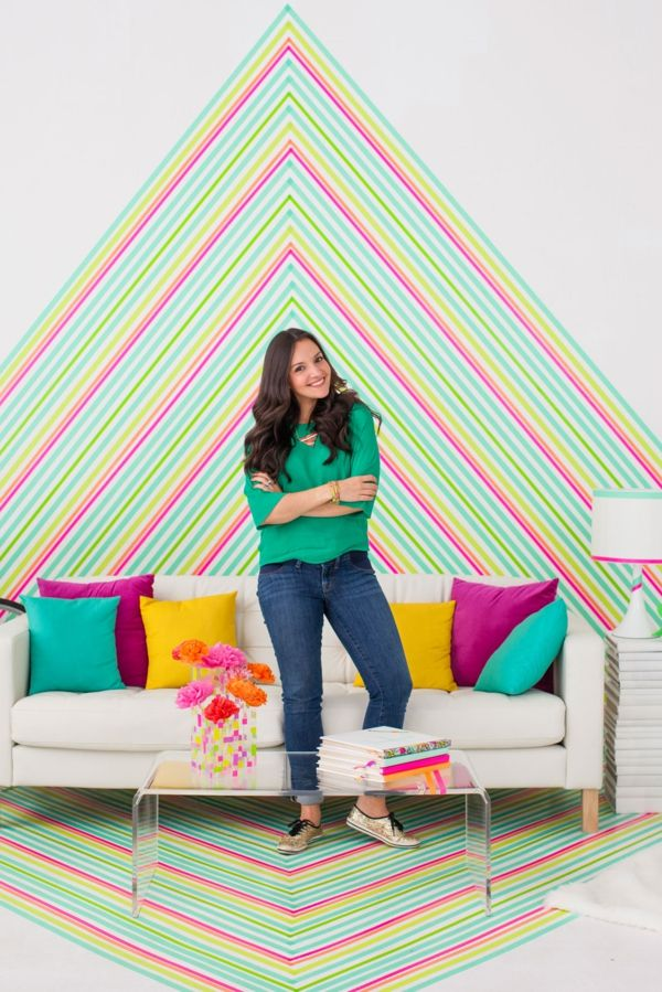 Wandtapete DIY Washi Tape Neonfarben geometrisch