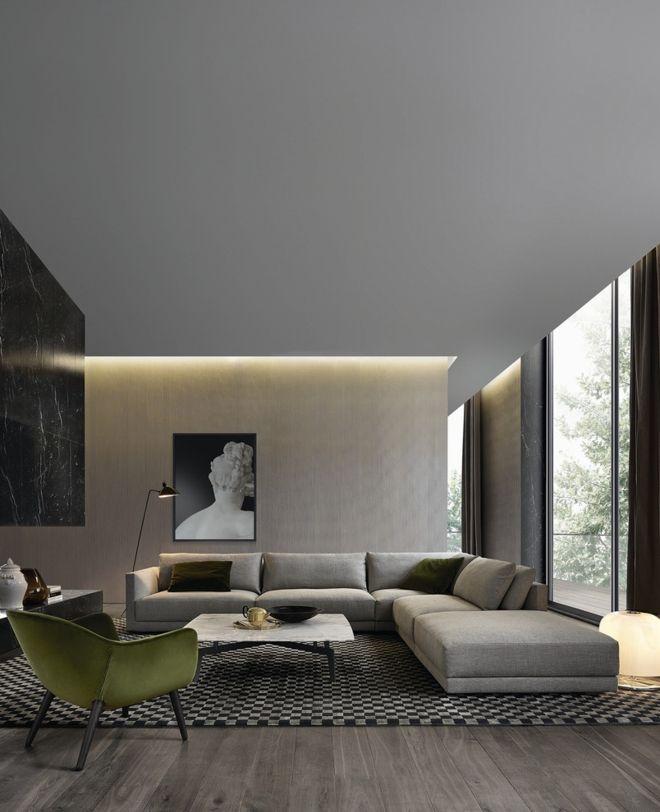 Wohnzimmer klassisch Design moosgrün grau