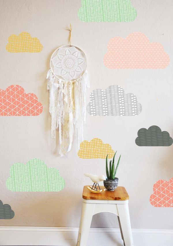 Wolken Wanddeko Pastellfarben Traumfänger