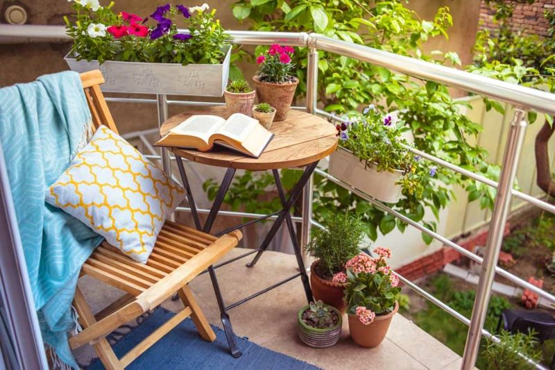 Zauberglöckchen Blumenkasten Terrasse weiß rot violett