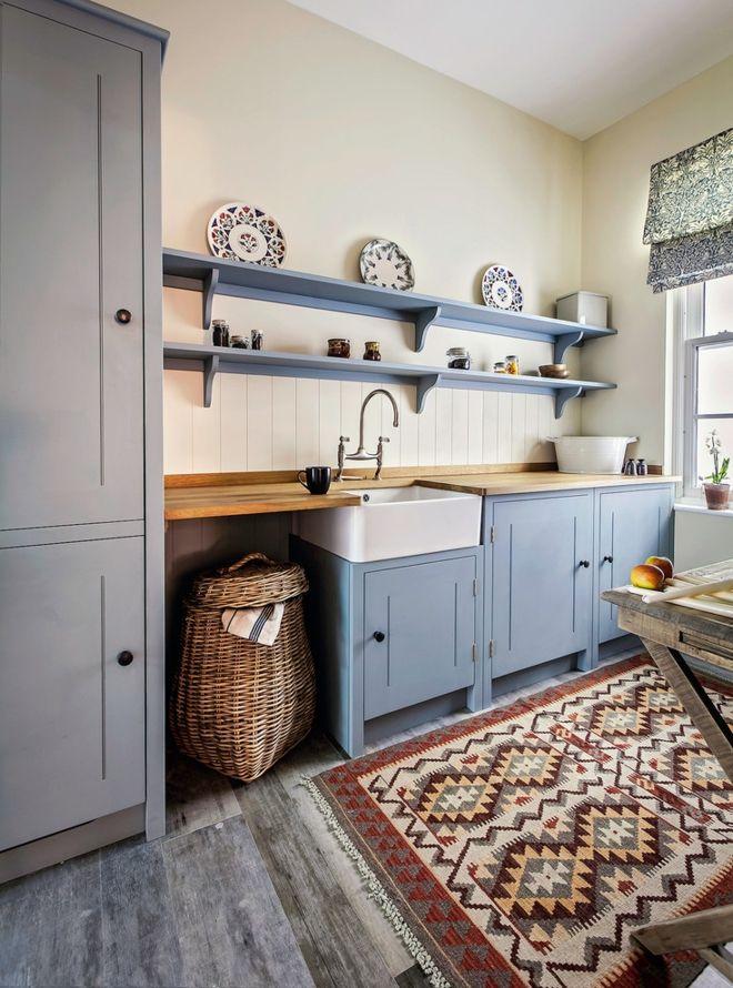 französisch Küchendesign mit Vintage Orientteppich