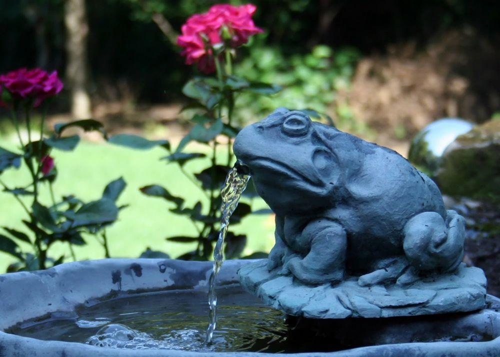 Brunnen und Rosen für den Feng Shui Garten