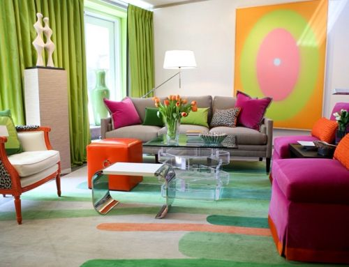 Buntes und gemütliches Wohnzimmer-Elemente in Feng Shui
