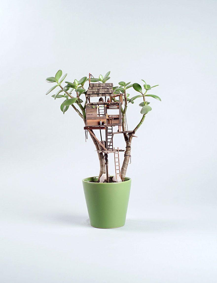 Deko Pflanzen Kunst winzig Baumhaus Jedediah Corwyn Voltz Bumentopf grün