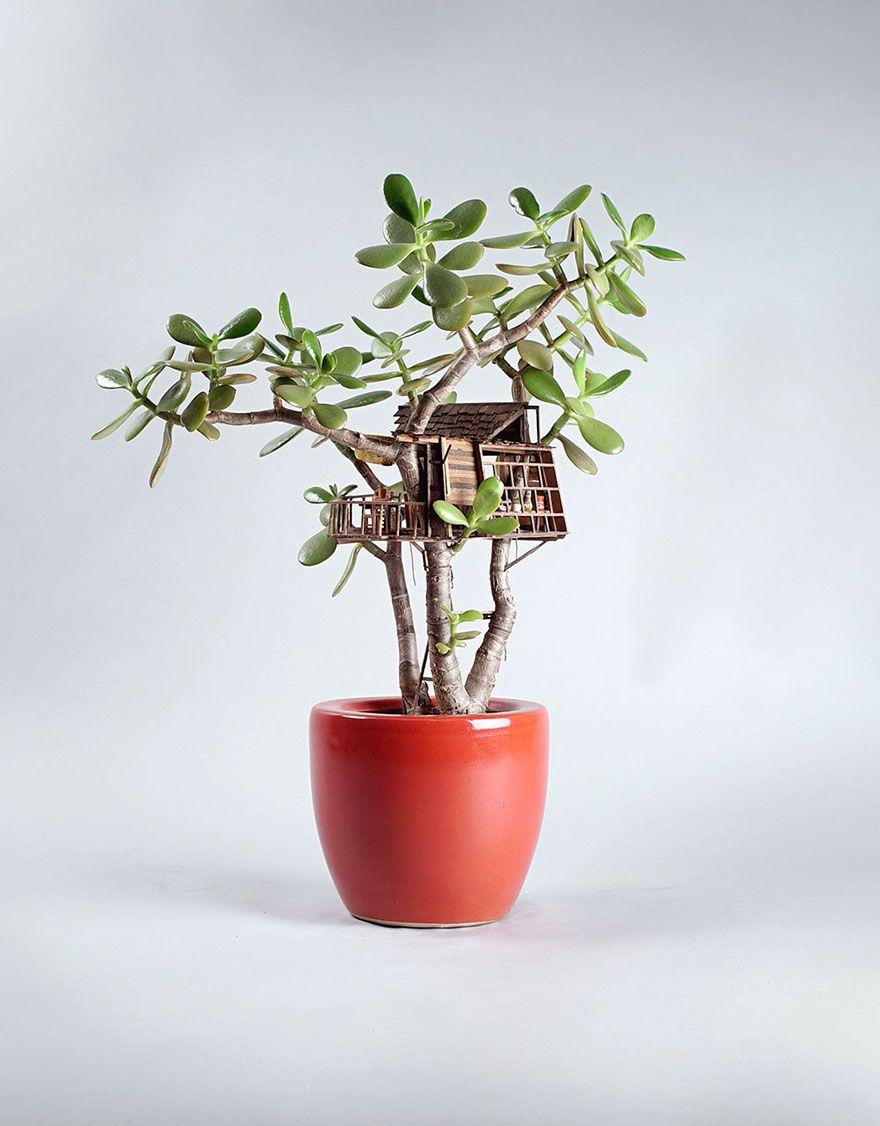 Deko Pflanzen Kunst winzig Baumhaus Jedediah Corwyn Voltz Bumentopf rot