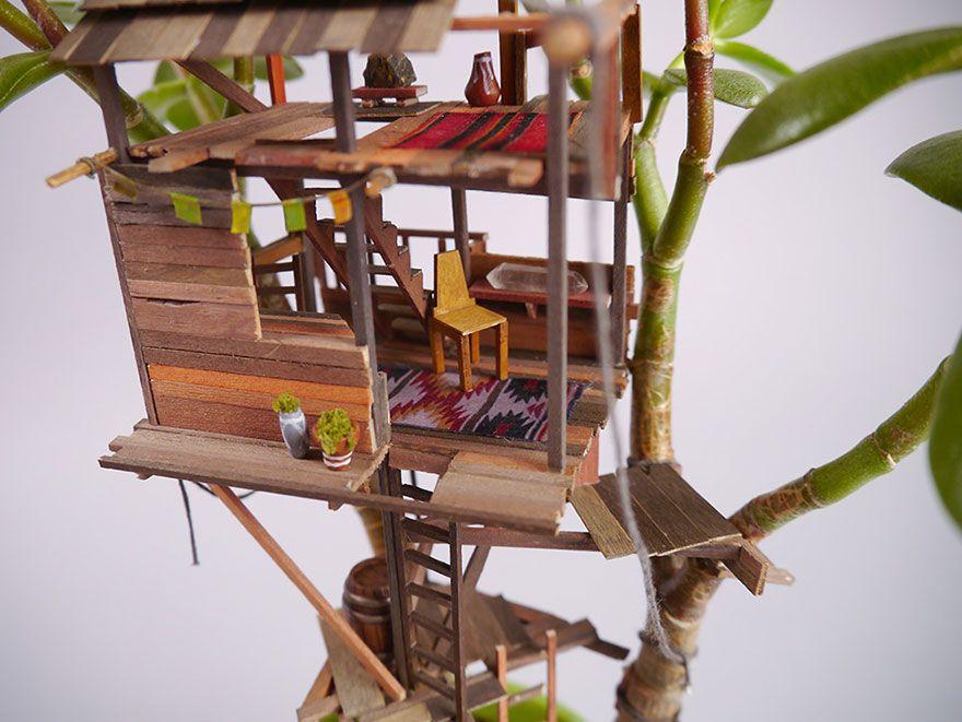 Deko Pflanzen Kunst winzig Baumhaus Jedediah Corwyn Voltz Miniatur