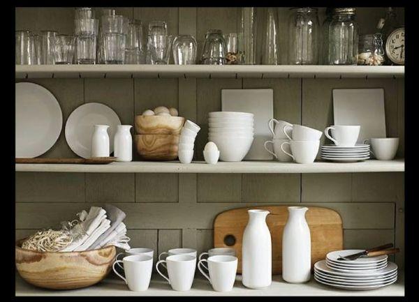 Der Aufbewahrungsort von Tellern, Tassen und Schüsseln in der Küche sollte gut durchdacht werden