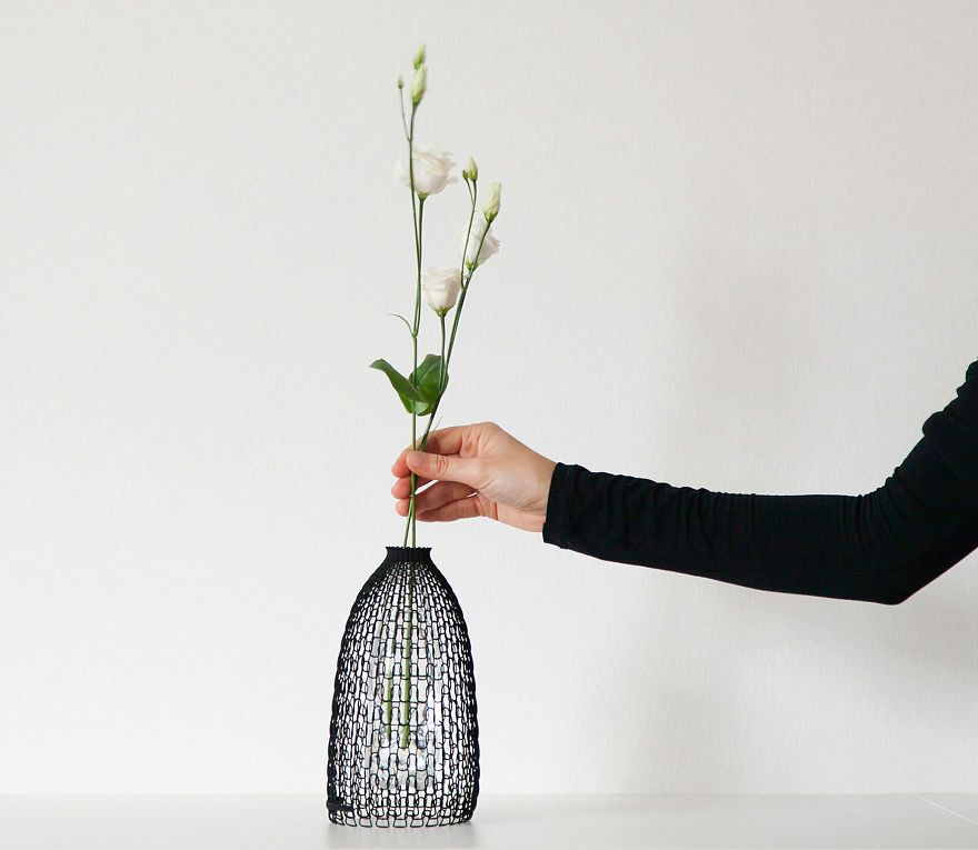 Designer Vase Libero Rutilo Italy trendig 3D-Druck knitted Blume