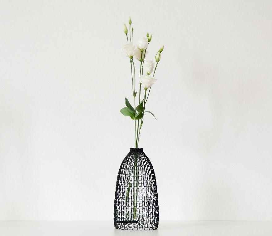 Designer Vase Libero Rutilo Italy trendig 3D-Druck knitted