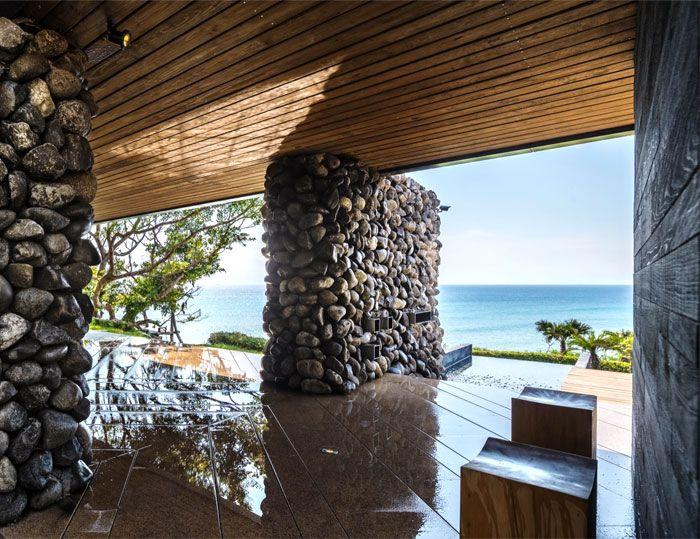 Designhaus Wohnidee Natur Stein Holz Pazifik