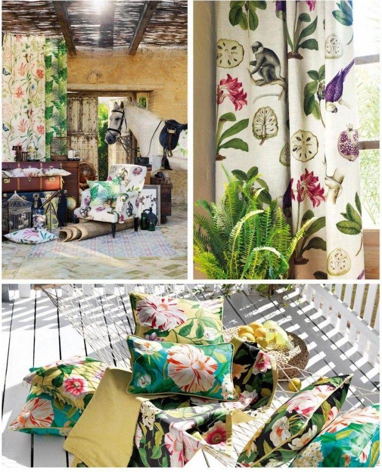 Frühling Dekoideen Innendesign selbstdekorieren Dekokissen Vorhang Blumenmuster