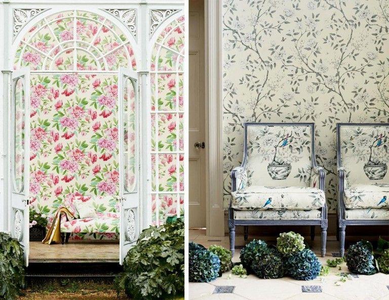 Frühling Dekoideen Innendesign selbstdekorieren Tapete Blumenprint Polstersessel Zierpflanze