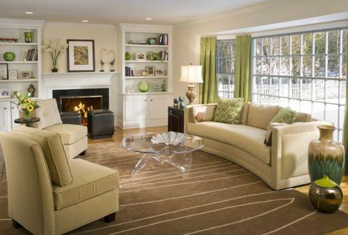 Gemütliches Wohnzimmer in Ocker mit schönen Wohnaccessoires-Elemente in Feng Shui
